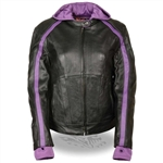 Women's Leather Motorcycle Jacket with Purple Hoodie