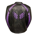 Women's Leather Motorcycle Jacket With Purple Embroidery