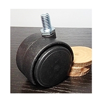 "Black Plastic  Chair 1.5"" inch Caster with Screw Stem"