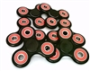 Lot of 100 Fidget Hand Spinner Toys with Ceramic Center Bearing with 2 End Caps, and 3 Red Outer Bearings