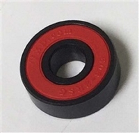 Set of 8 608B-2RS Skateboard Black Bearings with Nylon Cage and red Seals 8x22x7mm