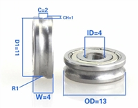 4mm Bore Bearing with 13mm Pulley U Groove Track Roller Bearing 4x13x4mm