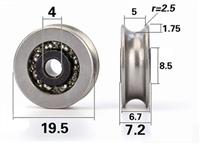 4mm Bore Bearing with 19.5mm Pulley U Groove Track Roller Bearing 4x19.5x6.7mm