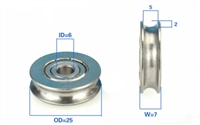 6mm Bore Bearing with 25mm Stainless Steel Pulley U Groove Track Roller Bearing 6x25x7mm
