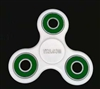 White Fidget Hand Spinners Toy with Center Ceramic Bearing, 2 caps and 3 outer green Bearings