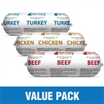 Raw Paws Complete Beef, Chicken & Turkey Value Pack, 30 lbs