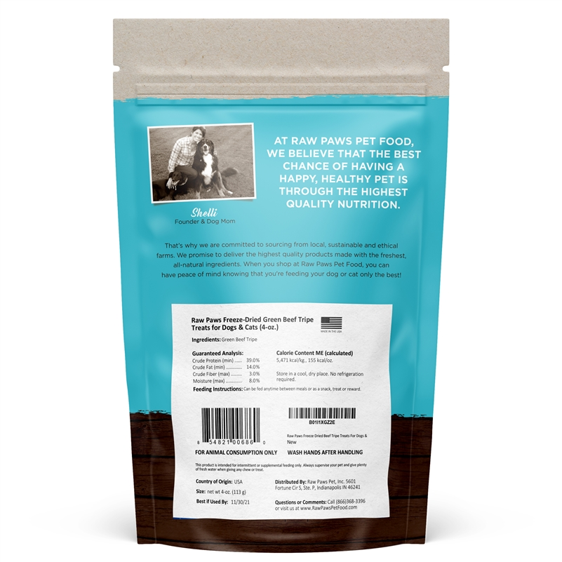 Raw Paws Freeze Dried Green Beef Tripe Treats For Dogs Cats 4 Oz