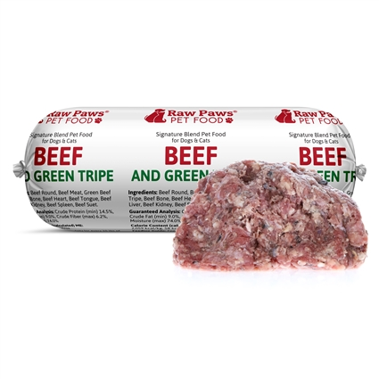 Raw Paws Signature Blend Complete Beef & Tripe for Dogs & Cats, 1 lb