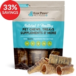 Raw Paws 3-4 inch Beef Trachea Chews for Dogs, 10 ct