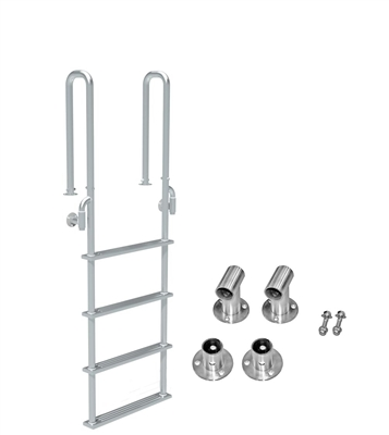 "Four Step, Fixed, Short Front-Mount, Stainless Steel Dock Ladder  (Handles 3"" Deep)"