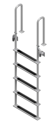 "Five Step, Fixed, Short Front-Mount, Stainless Steel Dock Ladder  (Handles 3"" Deep)"