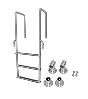 "Three Step, Fixed, Front-Mount, Stainless Steel Dock Ladder (Handes 15.75"" Deep)"