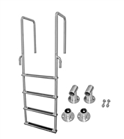 "Four Step, Fixed, Front-Mount, Stainless Steel Dock Ladder (Handles 15.75"" Deep)"