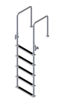 "Five Step, Fixed, Front-Mount, Stainless Steel Dock Ladder (Handles 15.75"" Deep)"