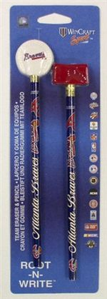 Atlanta Braves Pencil and Eraser Set