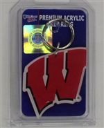 Wisconsin Badgers Key Ring - Deluxe Acrylic