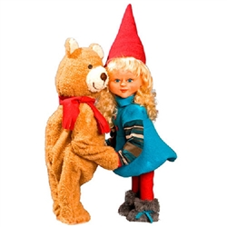 Animated Girl Santa and Teddy bear