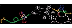 15' X 53' Animated Elf making Snowman with C7 LED bulbs