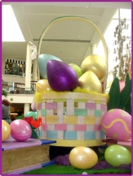 Fiberglass Giant Eggs filling 14' Tall Easter Basket