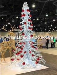 3-D Tree with crystal chains and ball ornaments