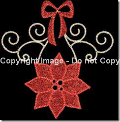 LED lighted Poinsettia with carpet garland