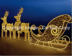Giant Sleigh and reindeer with LED Lights