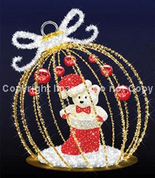 LED Lighted 3-D Ornament with Bear and Balls