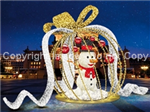 FDS 3D Illuminated Ball Ornament Display w/ Snowman & Ribbon