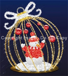 FDS 3D Illuminated Ball Ornament Display w/ Snowman