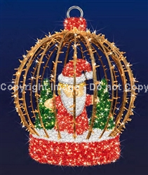 giant Ball ornament with Santa and trees inside