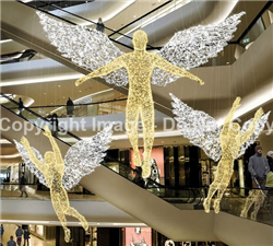 3-D Angel with arms out lit with LED lights
