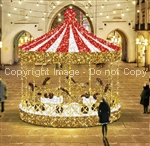 giant 3-D Carousel with 6 horses made of polished aluminum
