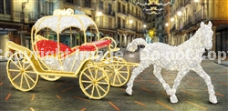 Carriage and horse with LED lights and carpet garland