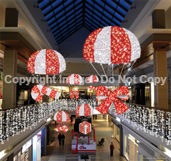 giant LED lit Parachute with present Candy cane or bow