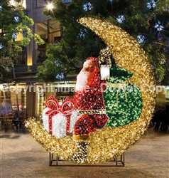 Lighted giant sparkling Santa Sleigh with packages and toy bag