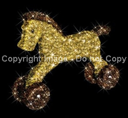3-D rocking Horse with carpet garland