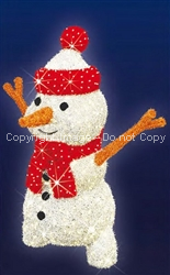 3-D Snowman with carpet garland lighted