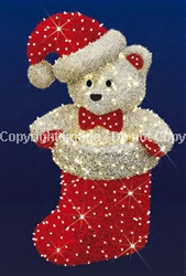 Large Teddy Bear with stocking and carpet garland