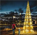 3-D polished aluminum tree with LED lights
