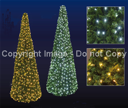 giant green tree with pure white or warm white LED lights