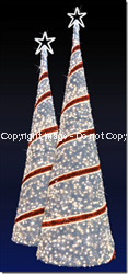 3D Silver & Red LED Christmas Ribbon Tree w/ Star Topper