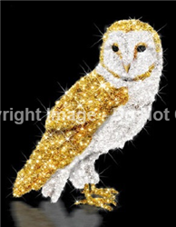 Snow Owl with gold and white carpet garland