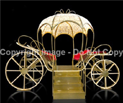 large 3-D carriage with LED strip lights and mini lights