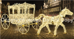Large stage coach and horse with LED strip lights