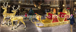 3-D sleigh with carpet garland and cushion seats