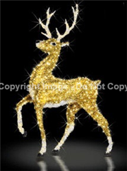 Large Reindeer with gold and white carpet garland