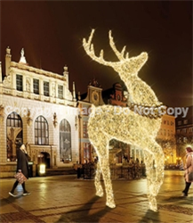 Giant reindeer with LED knitted lights