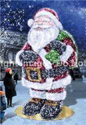 Giant Santa with LED lights and carpet garland