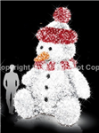 3-D Giant Snowman with white,red,black,orange and white carpet garland
