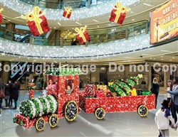 3-D Train with LED lights and carpet garland